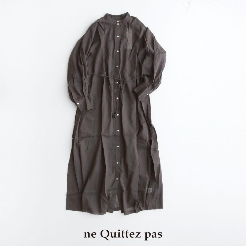 希少 2021AW ne quittez pas 010412CA3 ヌキテパ 春の新作続々 コットンボイルピンタックドレス