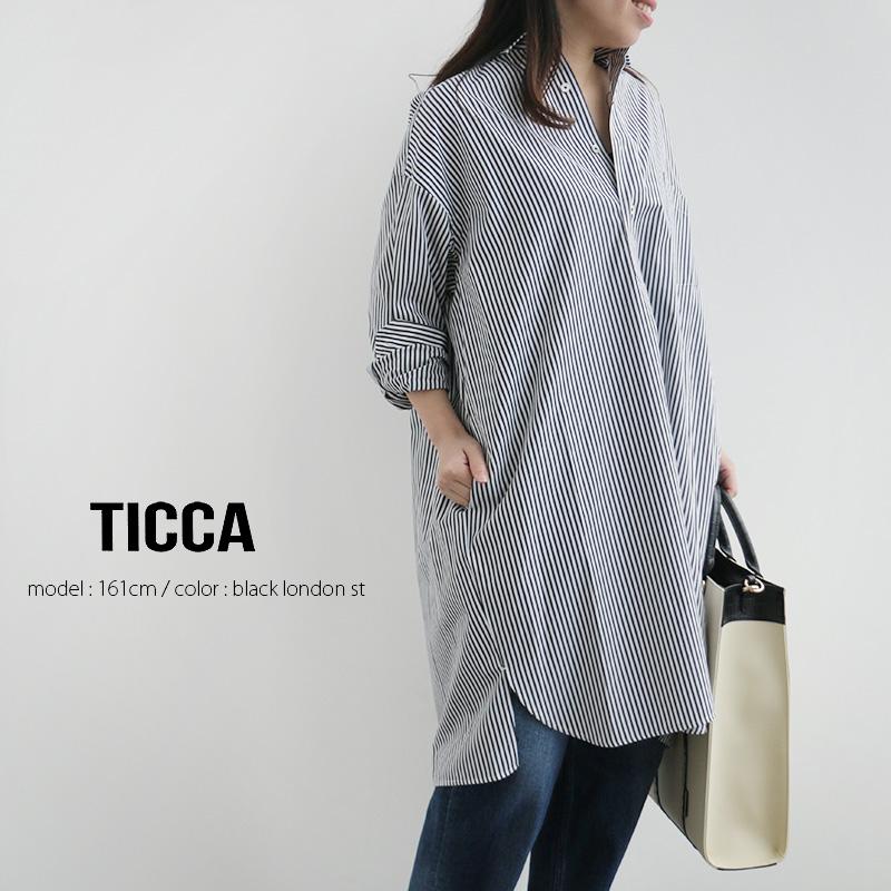 SALE対象外 TICCA ティッカ TBKS-014SS 中古 新作製品 世界最高品質人気 スクエアビッグロングシャツプルオーバー