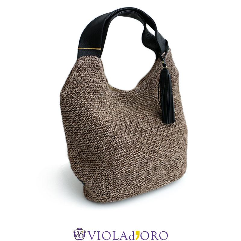 m【SALE対象外】【2019SS】【送料無料】VIOLA d'ORO ヴィオラドーロ タッセル付きトートバッグ V-8038カゴバッグ