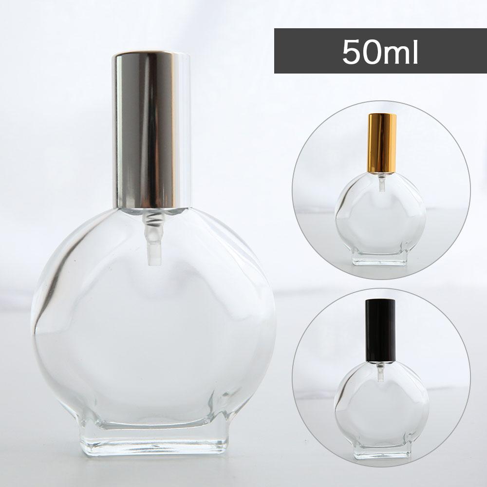 トップが選べるガラス香水瓶ボトル 10%OFFセール メール便200円 アトマイザー ラウンド 50ml 1本アルコール 香水瓶 フレグランス 香水 ボトル 期間限定の激安セール 透明 詰め替え ゴールド お金を節約 小分け 容器 手作り シルバー パフューム スプレー アロマ ブラック