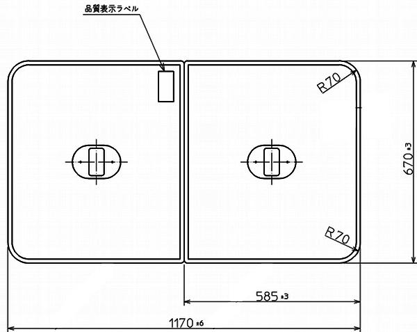 TOTO 浴室関連器具 ふろふた●1170×670mm PCF1230R#NW1風呂ふた・風呂フタ・フロフタ