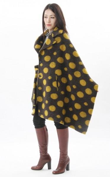 【店内全品ポイント2倍】【送料無料】デザインコート 《衿ショール・フェルトウール ドット×ドット 纏tenとモーハウスのコラボレーション デザインショール》
