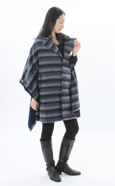 衿ショール・シャギーボーダー 《デザインコート 纏tenとモーハウスのコラボレーション デザインショール》
