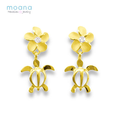 Hawaiian Jewelry Earrings K14 Honu Plumeria Yellow Gold With Case 05p23aug15