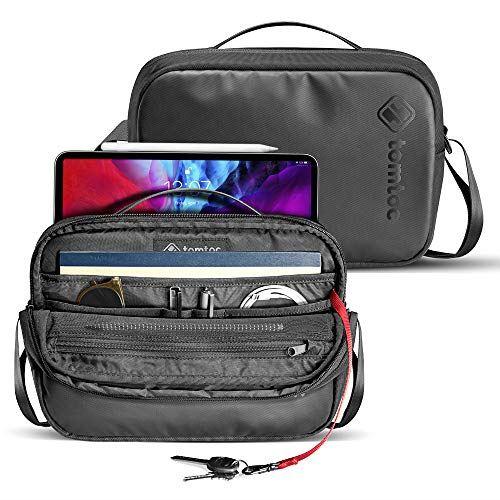 tomtoc ショルダーバッグ 斜めがけバッグ 11インチ iPad Pro 対応、 メッセンジャーバッグ 撥水加工 大容量 小物収納 タブレット対応、 ブラック