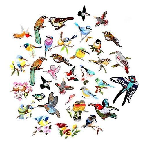 鳥 刺繍 アップリケ 35点セット アイロン接着 タイプ パッチ マーク 衣類 入学 帽子 手帳 人気急上昇 かわいい 品質保証 バッグ DIY 飾り 装飾