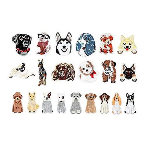 犬 刺繍 アップリケ 21点セット アイロン接着 タイプ パッチ マーク 衣類 かわいい 低価格化 バッグ 帽子 装飾 手帳 スーパーセール期間限定 DIY 飾り 入学