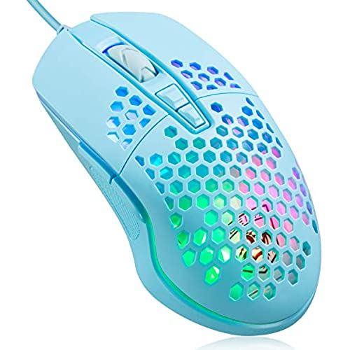 有線軽量ゲーミングマウス 78g 小型 軽量 ハニカムデザイン RGBライト プログラマブルドライバー 6400DPI 7鍵 6段調節可能 Pixart Paw3325 PC PS4 X-BOX スイッチ対応 (緑)