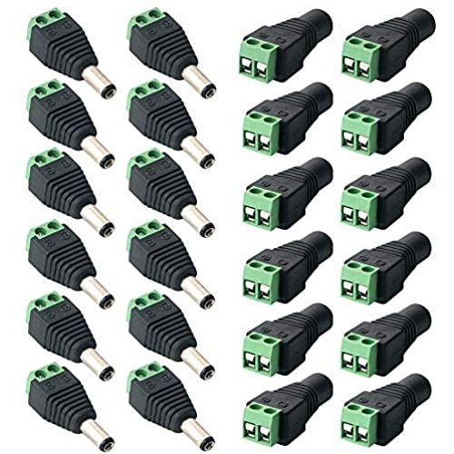 FULARRR 24個 プロフェッショナル 5.5 X 2.1mm 驚きの価格が実現 12V 半田付けなしで簡単に接続ができました ネジ端子アダプタ DC電源アダプタクイックコネクタ メスソケットセット CCTVカメラとLEDテープライト用DCジャック変換プラグ 新色 12ペア2ピンオスプラグ