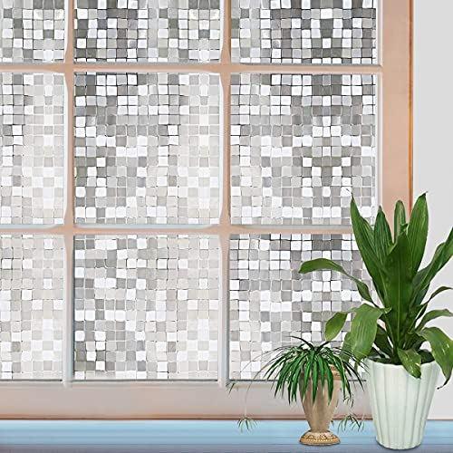 窓 めかくしシート 90CM×4M 半透明のモザイク柄 窓用 フィルム 断熱 セットアップ 遮熱 UVカット 目隠しシート 水だけで貼るタイプ 90×400CM ガラス 遮光 遮光シート 貼り直しでき 外から見えない 接着剤必要なし 公式サイト
