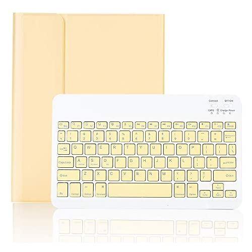 iPad8 iPad7 iPad Air3 Pro10.5兼用キーボードケース 人気ブレゼント! iPad10.2 Bluetoothキーボードカバー 分離式 薄型 手帳型 ペンシル収納 イエロー 色鮮やかお洒落 訳ありセール 格安 Pro10.5 スタンド機能