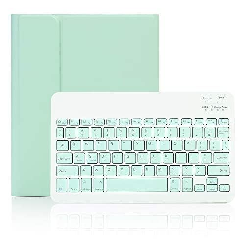 iPad6 iPad5 iPad Pro9.7 Air2 倉庫 Air兼用キーボードケース iPad9.7 Bluetoothキーボードカバー ... 薄型 スタンド機能 ミントグリーン 初売り 分離式 Air ペンシル収納
