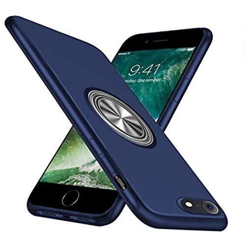 iPhone6 ケース iPhone6s ケースリング付き シリコン 期間限定 耐衝撃 スタンド機能 マグネット 車載ホルダー 指紋防止 軽量 人気 iPhone 期間限定で特別価格 一体型 スマホケース 6s ダークブルー 薄型 携帯カバー スリム 6