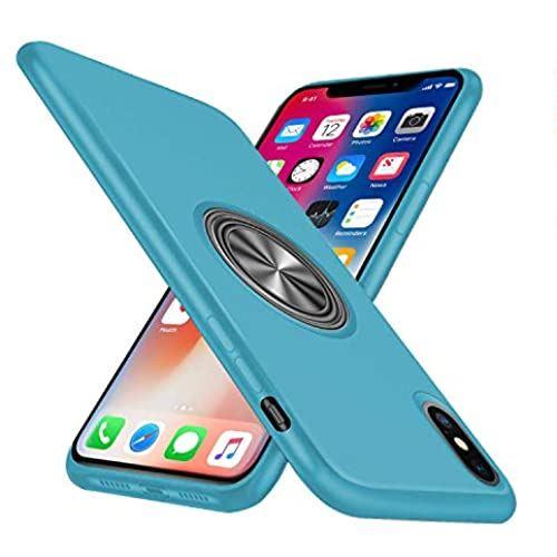iPhone XS 毎週更新 ケース X ケースリング付き シリコン 耐衝撃 スタンド機能 マグネット 男女兼用 車載ホルダー 軽量 スマホケース 薄型 一体型 指紋防止 携帯カバー 人気 ブルー スリム