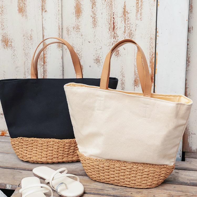 キャンバス×カゴバッグ [B1446] レディース カバン 鞄 ナチュラル シンプル デイリー 白 黒 夏 手提げ 収納力抜群 使いまわし 合わせやすい シンプル 大き目 ブラック ホワイト シンプル
