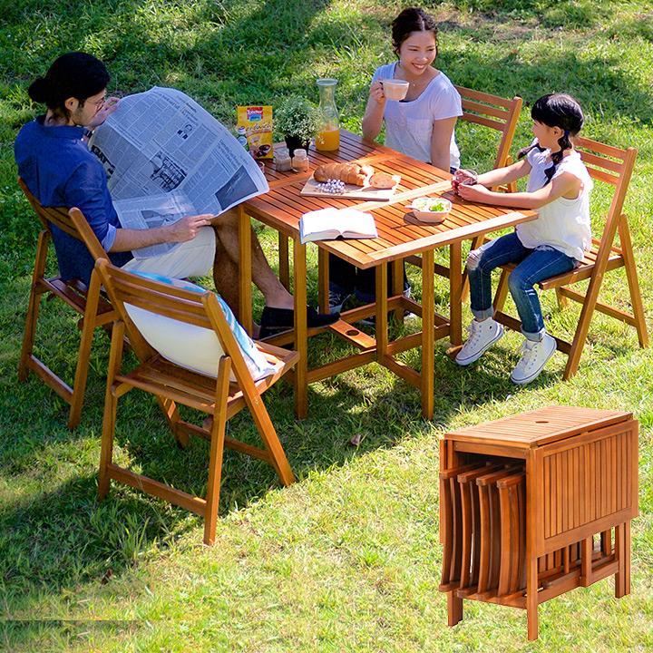 【パラソル使用可/折りたたみ可】バタフライテーブル&チェア 5点セット VFS-GT10FJ ガーデンテーブル ガーデンチェア 木製テーブル 木製チェア ガーデンファニチャー 折りたたみテーブル 折りたたみチェア