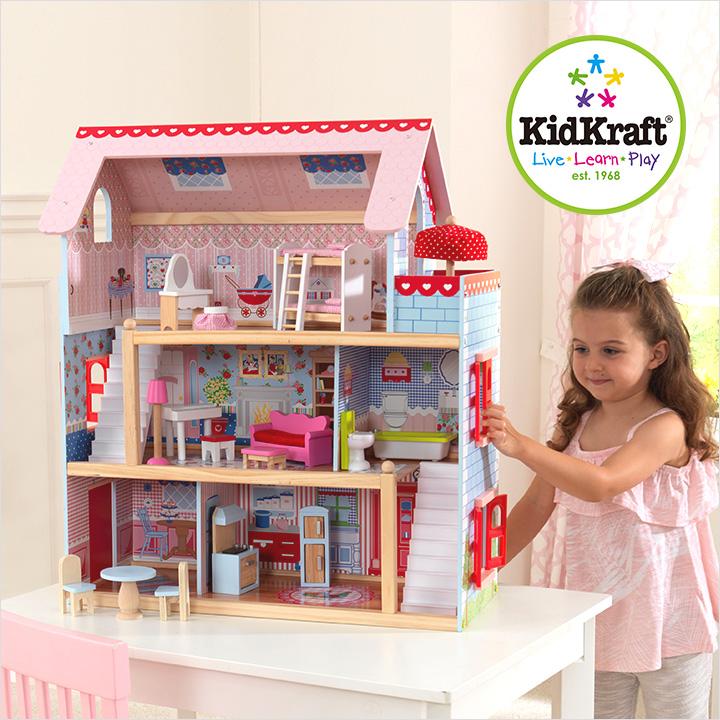 【割引クーポン配布中!】【正規品/CEマーク付き】KidKraft チェルシードールコテージ ドールハウス 人形遊び 家具付き 16点 ドールハウスセット こども 子ども おもちゃ オモチャ