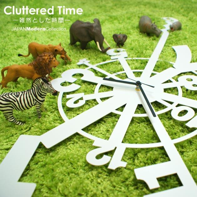 【割引クーポン配布中】時計 Cluttered Time 雑然とした時間 time 壁掛け デザイナーズ ユニーク 置時計 とけい お洒落 おしゃれ オシャレ インテリア