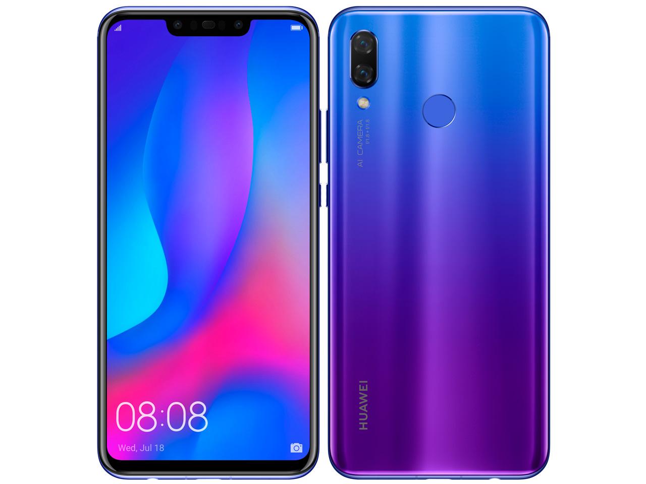 【新品未開封・白ロム・本体】HUAWEI nova 3 スマートフォン 携帯電話 SIMフリー HUAWEI NOVA 3 アイリスパープル PAR-LX9 アイリスパープル NOVA3