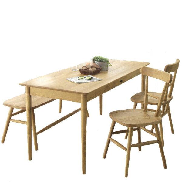 ダイニング4点160ベンチセット パイン家具 テーブル(CO01-160)+チェア2脚(CO02x2)+120ベンチ(CO-10)  0152-ds-co160-10