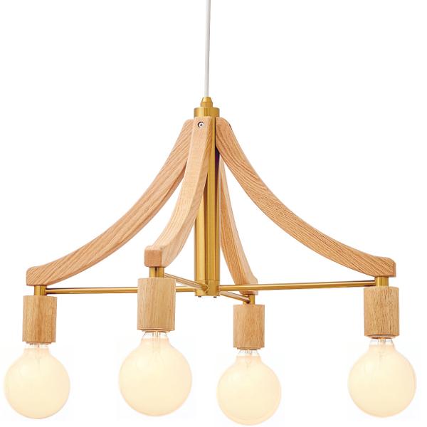 4灯式ウッドフレームペンダントライト Leni[レニー] E26/60W φ95 ホワイトボール球(白熱電球)×4付 ナチュラル色  252l-lt-3786na