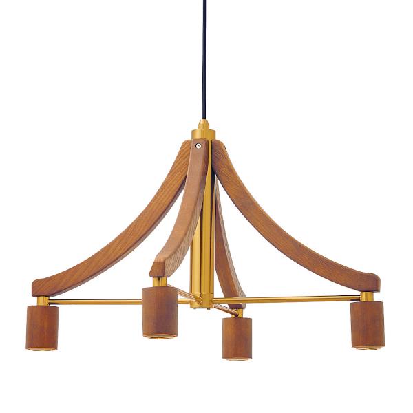4灯式ウッドフレームペンダントライト Leni[レニー] 電球なし ブラウン色  252l-lt-3788bn