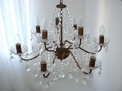 【送料無料】照明器具 天井照明 ペンダントライト シーリング ランプアンティークスタイル アンティークゴールド 9灯シャンデリア (40W×9灯=360W相当) 電球付属0202-li-op-005-6-3at