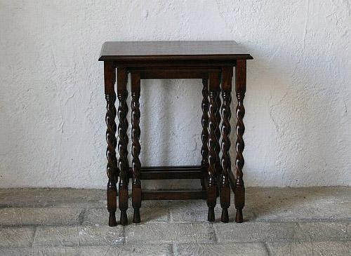 ネストテーブル サイドテーブル コンソール テーブル 木製 ダークブラウン アンティーク 無垢 北欧 カフェ ナチュラル モダン 模様替え ネストテーブル(3点セット)オーク家具0035-lt-JG352