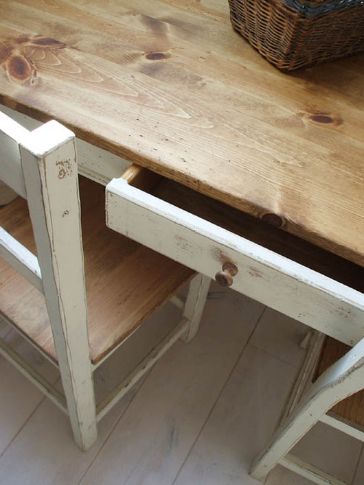 Mobilegrande Rustic Pine Tables For Additional Drawer Dining Table