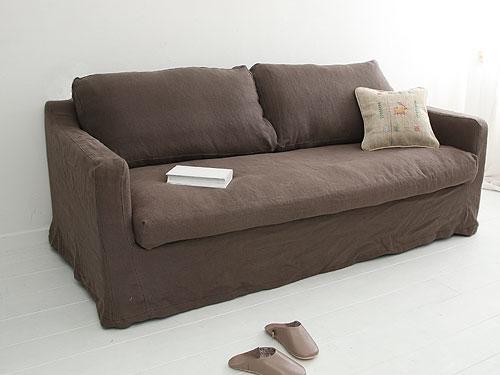 Cotton Linen Sofa リネン カバーリングソファ ブラウン色(別注)0142-sf-sh12-07-12-6932br