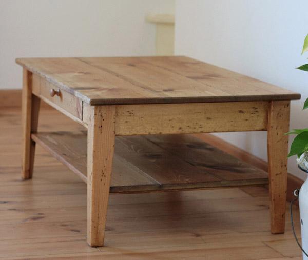 リビング ローテーブル ソファテーブル テーブル ナチュラル 木製 カントリー カフェ モダン 引き出し 家具 無垢 北欧 ナチュラル リビングローテーブルラスティックパイン ローテーブルウィズシェルフ 900×6000220-lt-RT-205