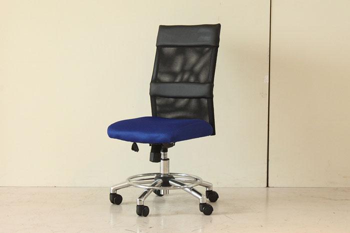 オフィスチェア ブルー 昇降式 高機能チェア 回転 フットステップ デスクチェア ワークチェアー 椅子【本州玄関前お渡し送料無料】0551-ch-54070880