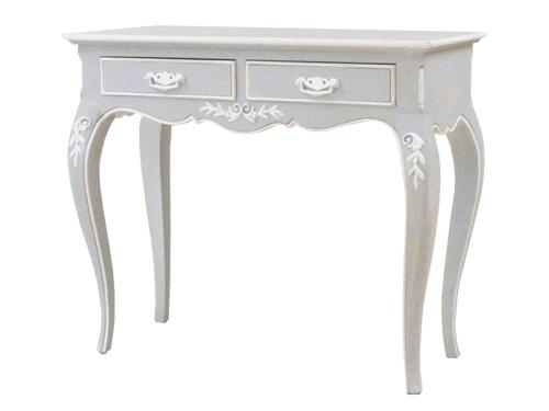 テーブル 机 コンソール ホワイト 木製 アンティーク ホワイト家具 ロマンチック 北欧 カフェ ナチュラル モダン パイン材 模様替え 引越フランス家具 コンソール 引出付0222-ct-0121150