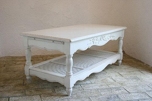 リビング ローテーブル ソファテーブル テーブル アンティーク 木製 ホワイト家具 カフェ モダン 無垢 北欧 カフェ ナチュラル モダン ローテーブルフランス家具 ホワイト コーヒーテーブル0222-lt-0121013