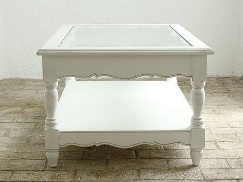 リビング ローテーブル ソファテーブル テーブル アンティーク 木製 ホワイト家具 カフェ モダン 無垢 北欧 カフェ ナチュラル モダン ローテーブルホワイト フランス家具 ガラストップコーヒーテーブル0222-lt-0121017