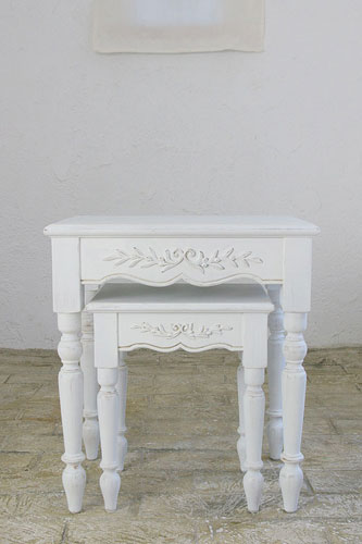 White Furniture France Furniture Nesting Tables Set 2 Pieces