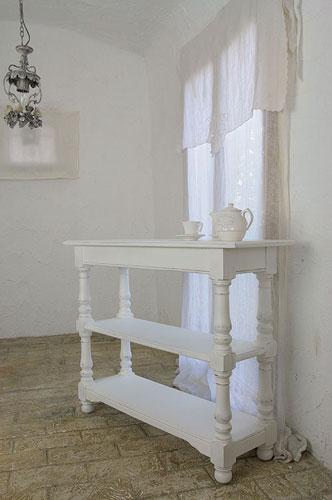 サイドテーブル テーブル コンソール テーブル 丸 ホワイト アンティーク 木製 ホワイト家具 北欧 カフェ ナチュラル モダン パイン材 コンソール テーブルフランス家具 ホワイト コンソール0222-ct-0121087