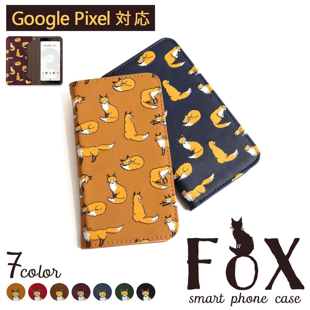 Google Pixel 5 ケース 4a セール商品 5G 手帳型 おしゃれ 3a Pixel4 直営ストア ピクセル5 かわいい スライド ベルトなし 5g Pixel3 3XL キツネ