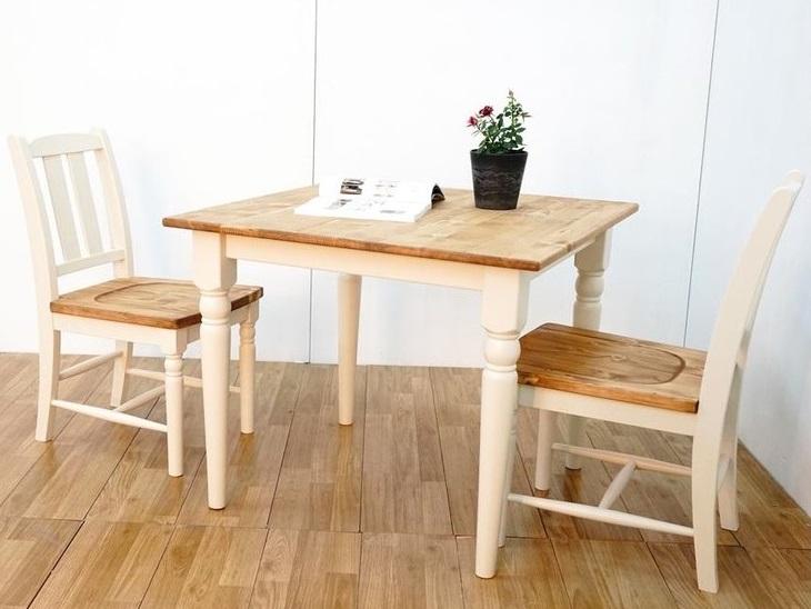 送料無料 パイン無垢材使用 テーブル テレワーク シンプル 在宅 カントリー調 3点セット ダイニングセット チェア 食卓 3点セット 食卓セット ダイニング3点 ダイニング ホワイト色