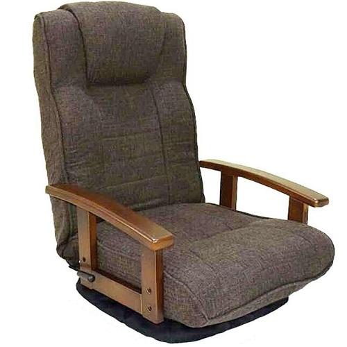 ゲーム椅子 1人掛け 14段階リクライニング 在宅 木肘 テレワーク 座椅子 ブラウン色 おり畳み式 らくらく 回転座椅子