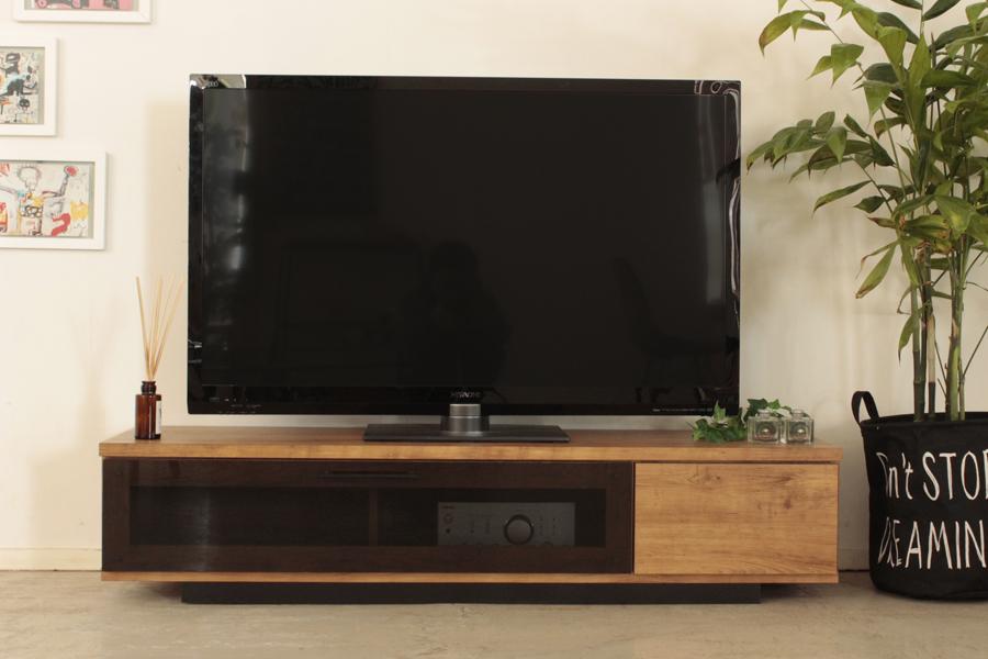 北欧風 モダン ロータイプ140センチ幅TVボード ミラーナチュラル 国産品 ローボード ヴィンテージ レトロ テレビボード テレビ台 収納