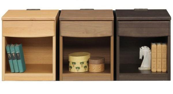 国産品 ナイトテーブル 3色対応 コンセント付き サイドテーブル 木製 アルダー材 日本製 送料無料 期間限定 数量限定