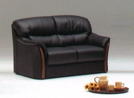 送料無料 2人用ソファー 合皮 合成皮革張り ダークブラウン色 硬めの座り心地 お手入れ簡単 高級感 完成品 座り心地抜群 木調飾り 北欧風 新生活