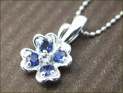 サファイア ダイヤ ペンダント ネックレス K18 クローバーモ チーフ 3色