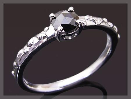 K18 ブラックダイヤモンド ローズカット アンティークデザイン リング 4mm【送料無料】 【重ねづけ リング】ダイヤモンドリング