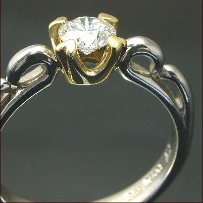 エンゲージリング GIA 鑑定書付き 0.3ct アップ【Dカラー VS1-IFクラス 3エクセレント】Pt950 ダイヤモンド 一粒リング 唐草とハートモチフ ブライダルジュエリー【エンゲージリング・婚約指輪】【リング Diamond Ring ダイヤモンドリング】