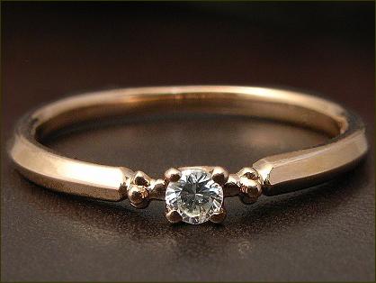 一粒 ダイヤモンド ピンキーリング 0.04ct ダイヤモンドリング ※サイズ0番から対応
