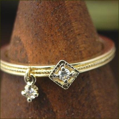 ゆらゆら ダイヤ ピンキーリング 0.04 クラシカル デザイン ダイヤモンドリング ※サイズ0番から対応
