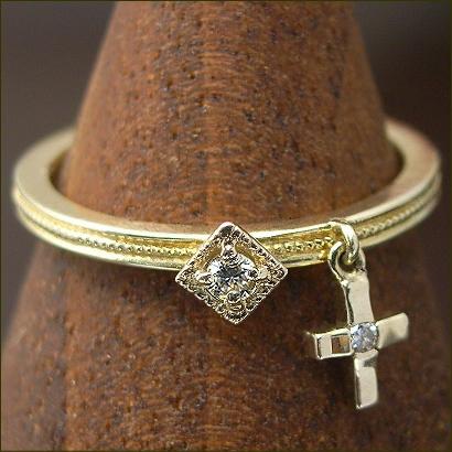 ゆらゆら ダイヤ ピンキーリング 0.03ct クラシカル デザイン ダイヤモンドリング ※サイズ0番から対応