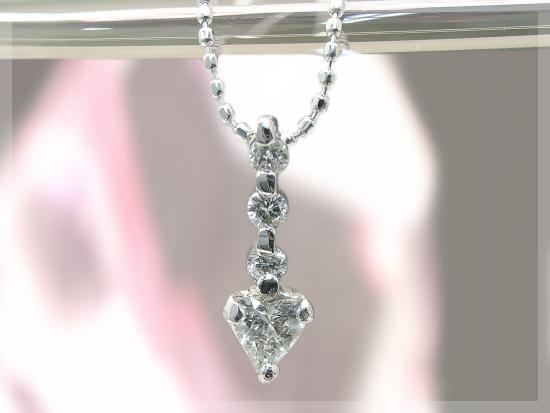 【送料無料】0.15ct ハートシェイプ ダイヤモンド ネックレス K18 ダイヤモンドネックレス